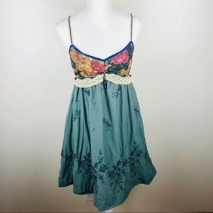 Free People Silk Embroidered Dress